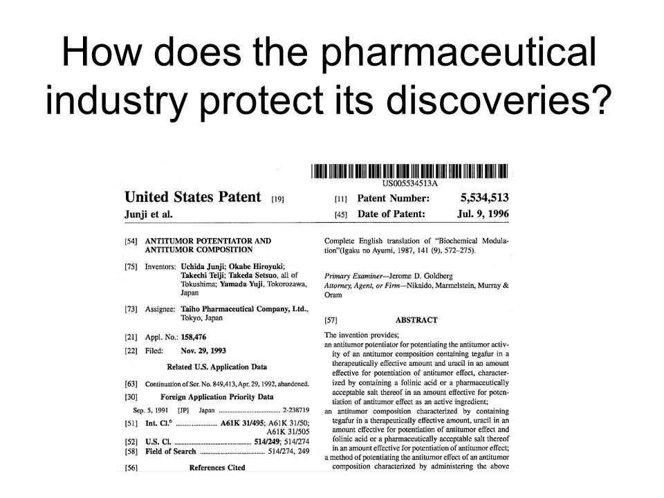How does the pharmaceutical industry protect its discoveries