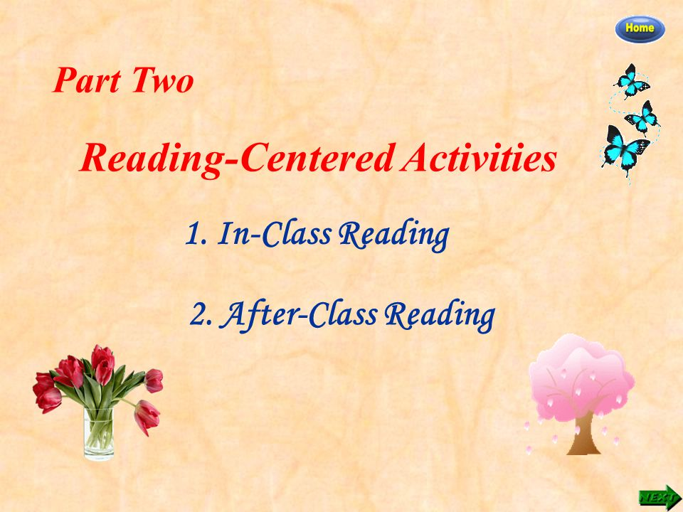 Part Two Reading-Centered Activities 1. In-Class Reading 2. After-Class Reading
