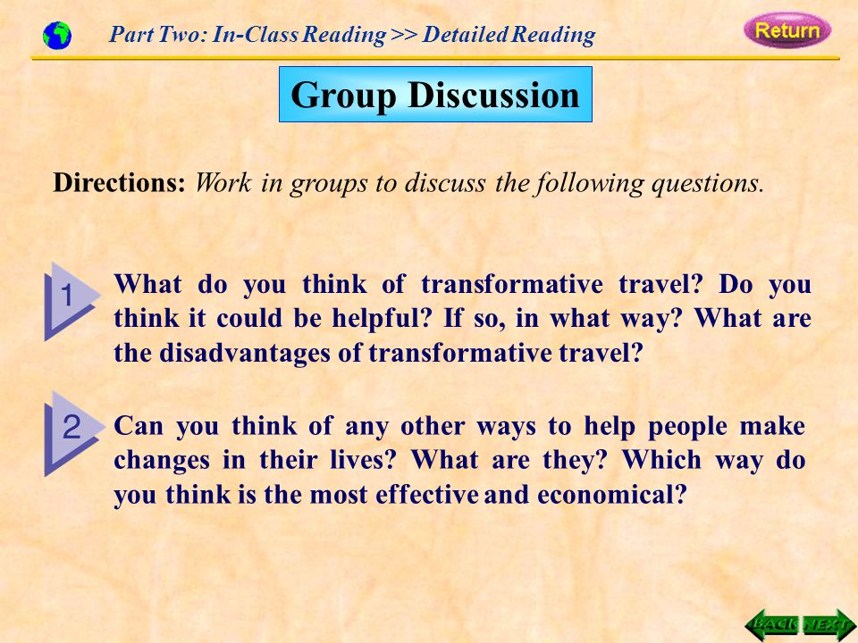 Part Two: In-Class Reading >> Detailed Reading Directions: Work in groups to discuss the following questions.