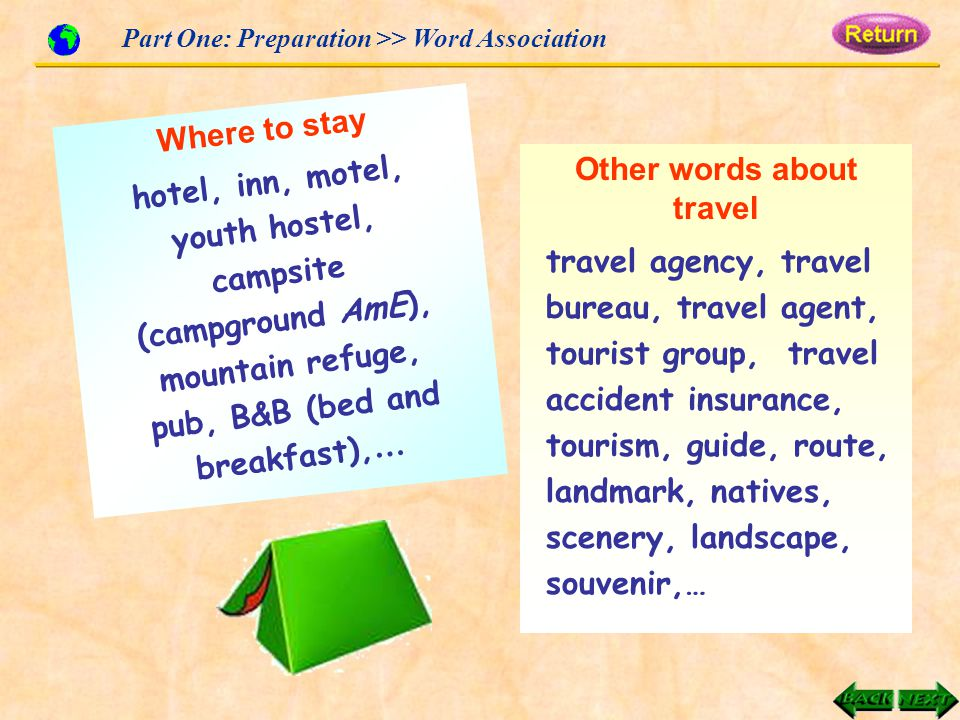 Where to stay Part One: Preparation >> Word Association Other words about travel travel agency, travel bureau, travel agent, tourist group, travel accident insurance, tourism, guide, route, landmark, natives, scenery, landscape, souvenir,… hotel, inn, motel, youth hostel, campsite (campground AmE), mountain refuge, pub, B&B (bed and breakfast), …