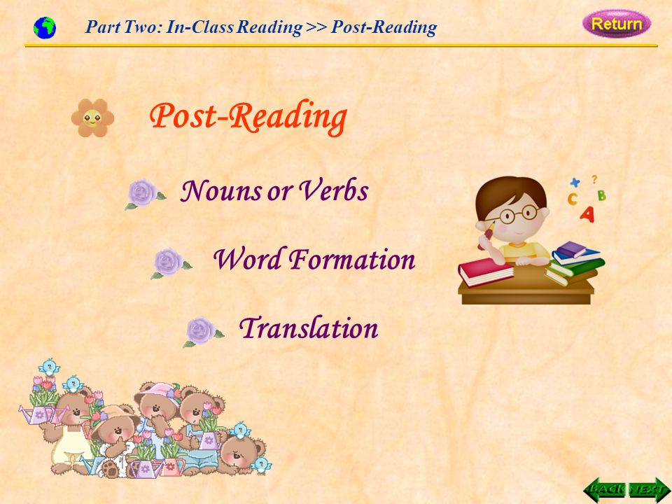 Part Two: In-Class Reading >> Post-Reading Post-Reading Nouns or Verbs Word Formation Translation