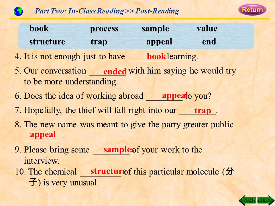Part Two: In-Class Reading >> Post-Reading book process sample value structure trap appeal end 4.