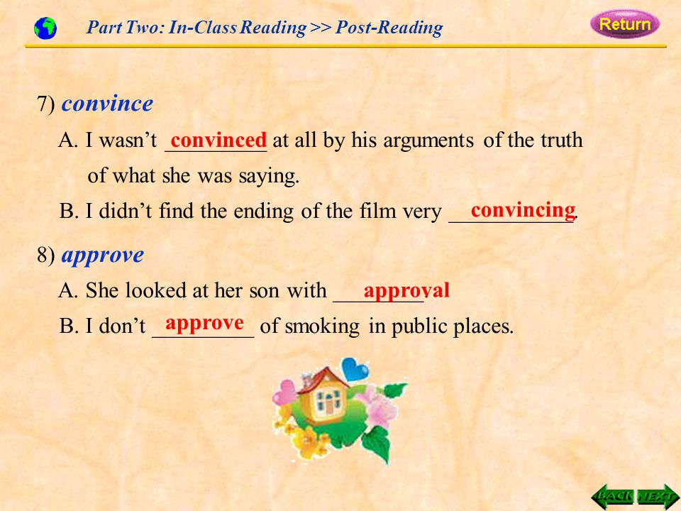 Part Two: In-Class Reading >> Post-Reading 7) convince A.