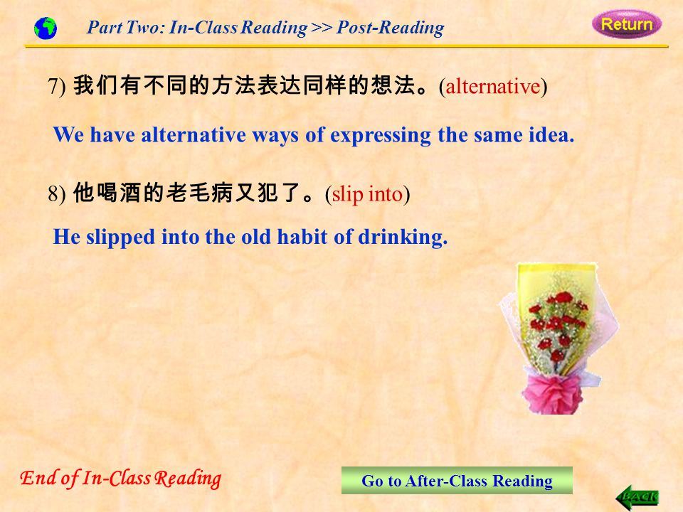 Part Two: In-Class Reading >> Post-Reading He slipped into the old habit of drinking.