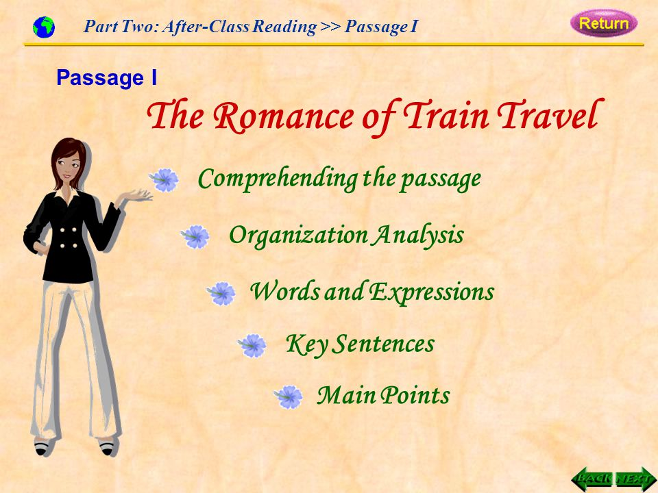 Comprehending the passage Organization Analysis Words and Expressions Key Sentences Main Points Part Two: After-Class Reading >> Passage I The Romance of Train Travel Passage I