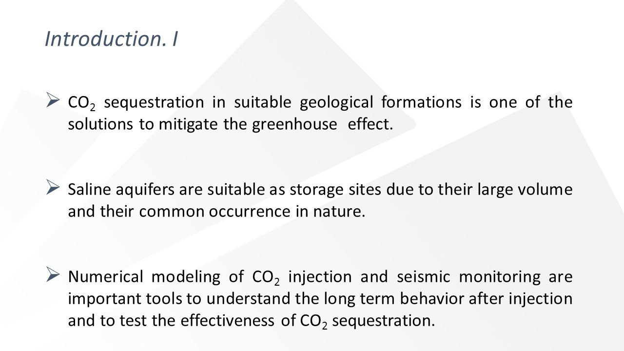 Introduction. I  CO 2 sequestration in suitable geological formations is one of the solutions to mitigate the greenhouse effect.  Saline aquifers ar