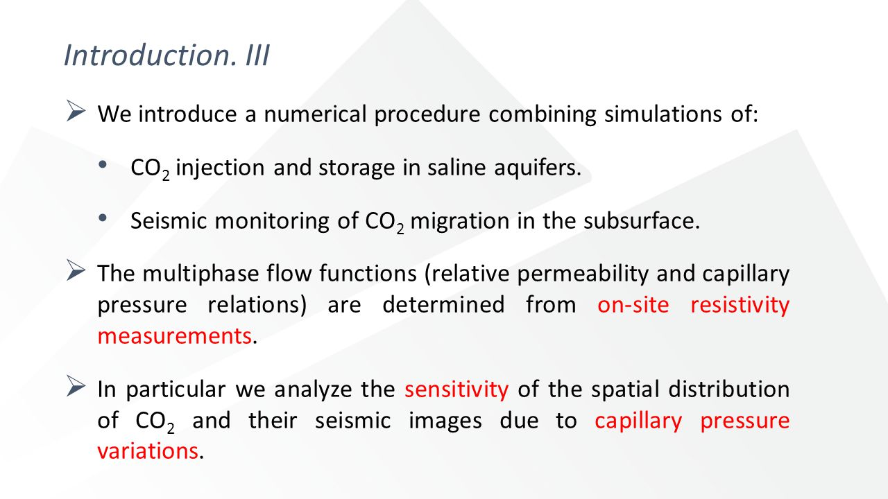 Introduction. III  We introduce a numerical procedure combining simulations of: CO 2 injection and storage in saline aquifers. Seismic monitoring of