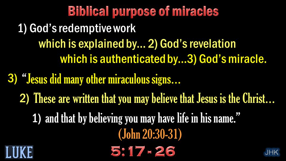 1) God's redemptive work which is explained by… 2) God's revelation which is authenticated by…3) God's miracle.