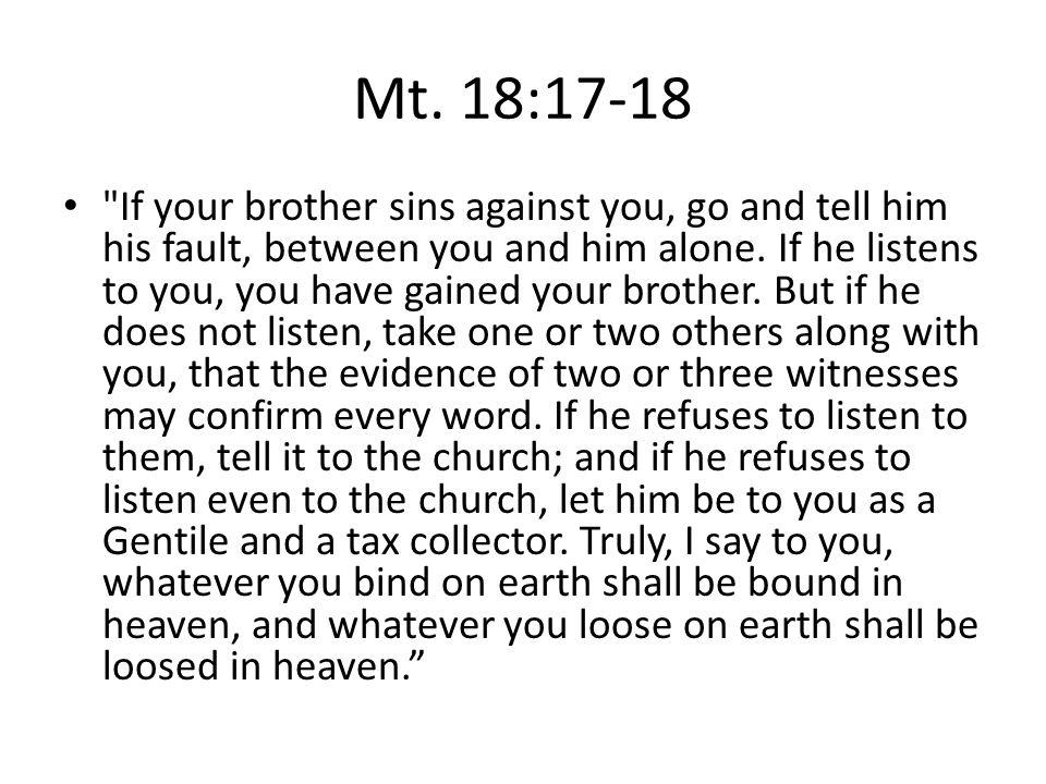 Mt. 18:17-18