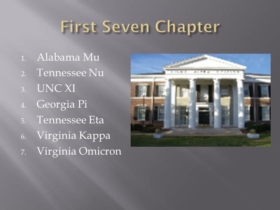 1. Alabama Mu 2. Tennessee Nu 3. UNC XI 4. Georgia Pi 5.