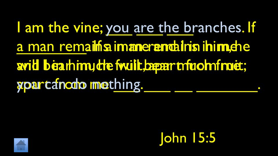 I am the vine; ___ ___ ___ ________. If a man remains in me and I in him, he will bear much fruit; apart from me ___ ___ __ _______. John 15:5 I am th