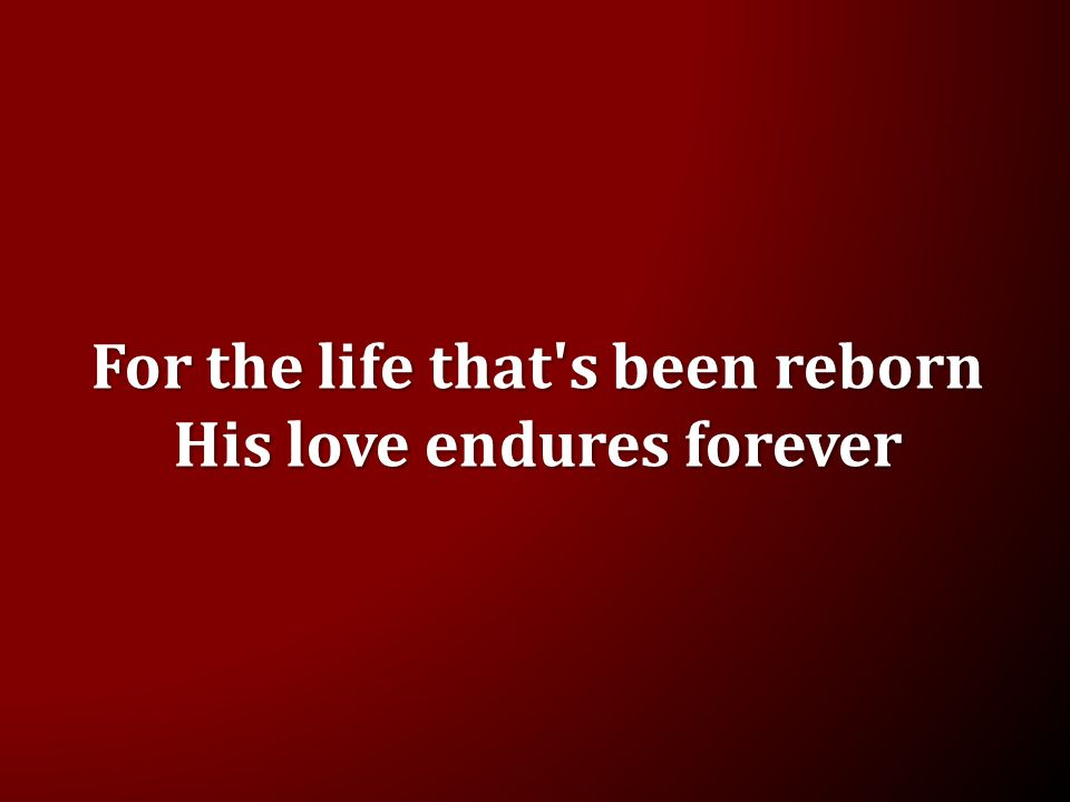 For the life that s been reborn His love endures forever