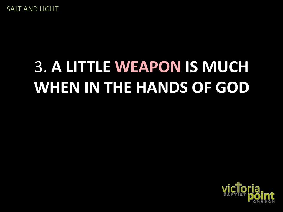 3. A LITTLE WEAPON IS MUCH WHEN IN THE HANDS OF GOD SALT AND LIGHT