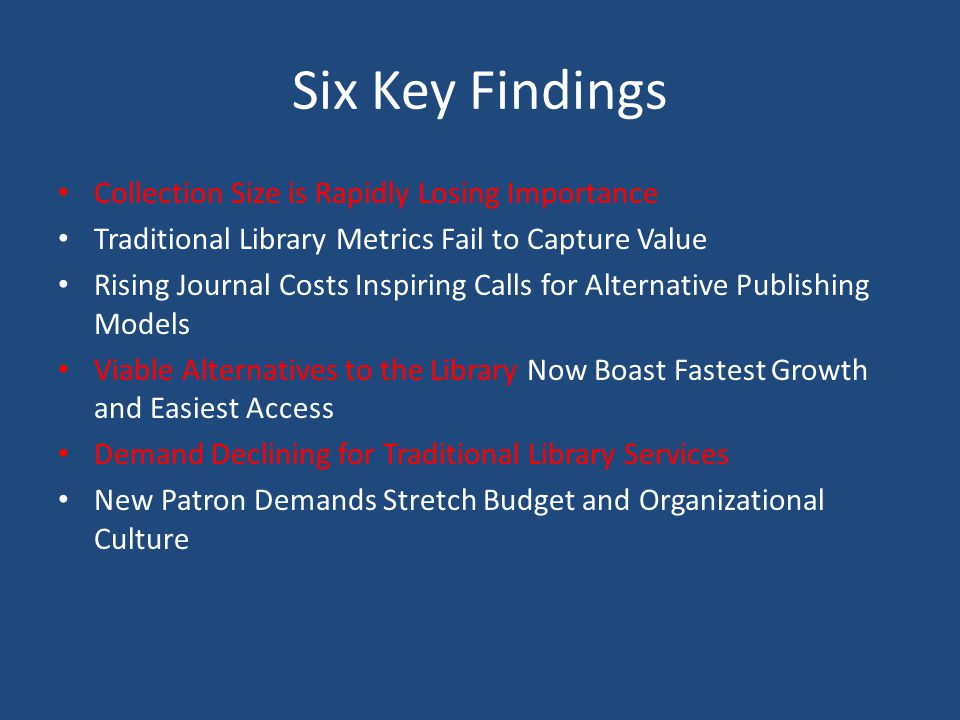Six Key Findings Collection Size is Rapidly Losing Importance Traditional Library Metrics Fail to Capture Value Rising Journal Costs Inspiring Calls for Alternative Publishing Models Viable Alternatives to the Library Now Boast Fastest Growth and Easiest Access Demand Declining for Traditional Library Services New Patron Demands Stretch Budget and Organizational Culture