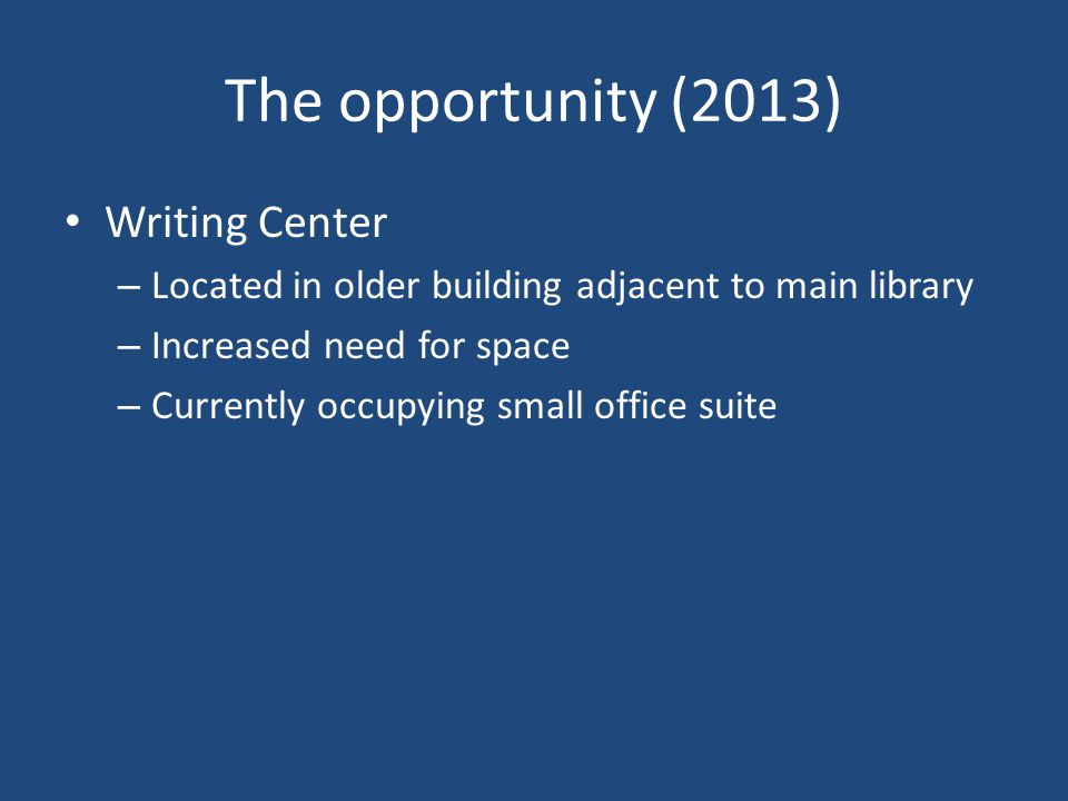 The opportunity (2013) Writing Center – Located in older building adjacent to main library – Increased need for space – Currently occupying small office suite