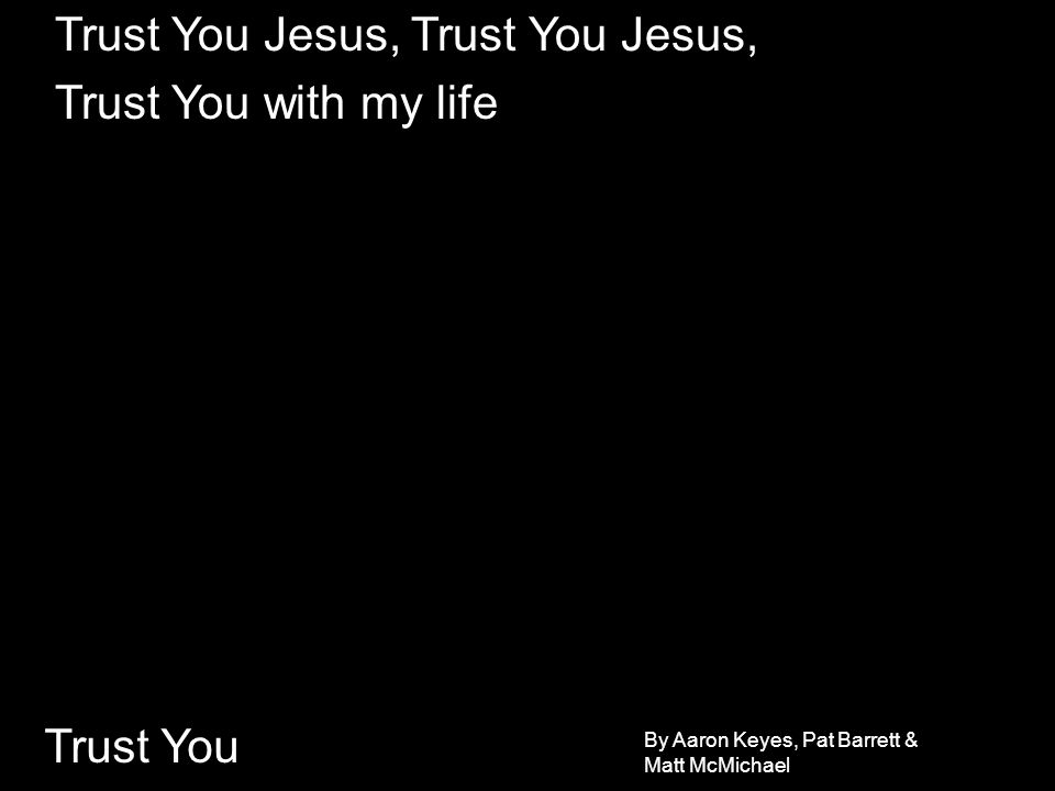Trust You You hold the world in your hands, God of mercy and might Knew me before I was born, called me by Name How could I ever respond but to fall and adore I live to know You more, Lord I will, ever...
