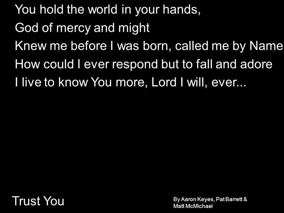 Trust You You hold the world in your hands, God of mercy and might Knew me before I was born, called me by Name How could I ever respond but to fall a