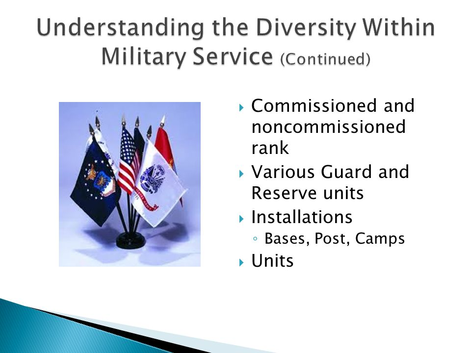  Commissioned and noncommissioned rank  Various Guard and Reserve units  Installations ◦ Bases, Post, Camps  Units