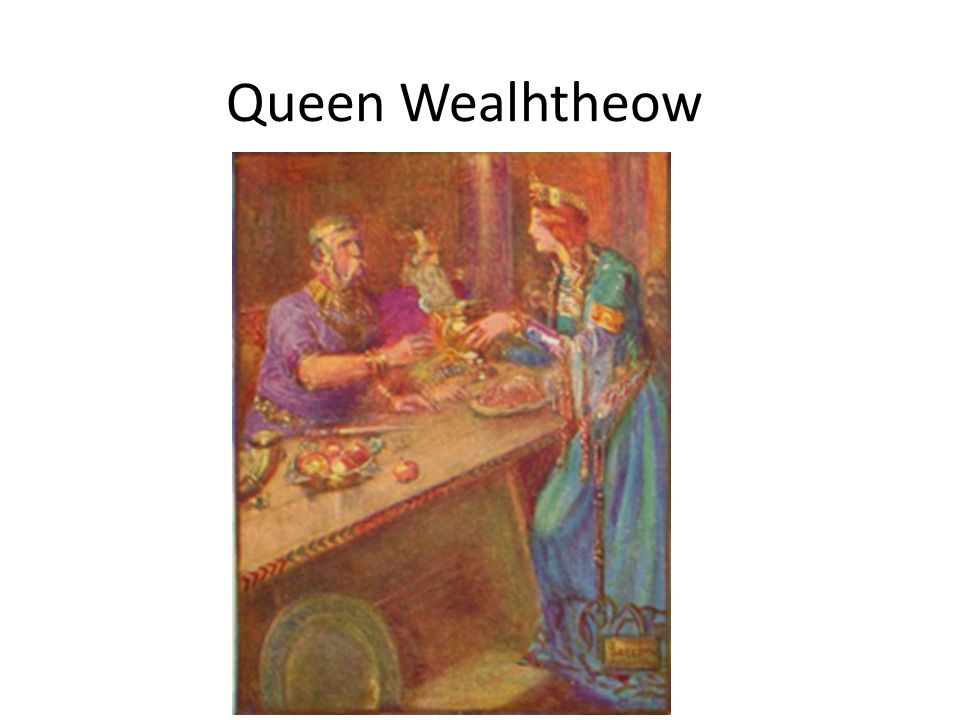 Vocabulary/Diction Wealhtheow came in, Hrothgar's queen, observing the courtesies.