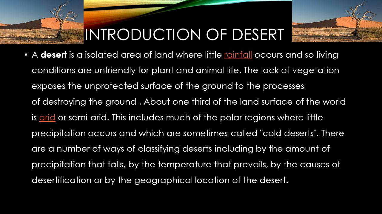 INTRODUCTION OF DESERT.