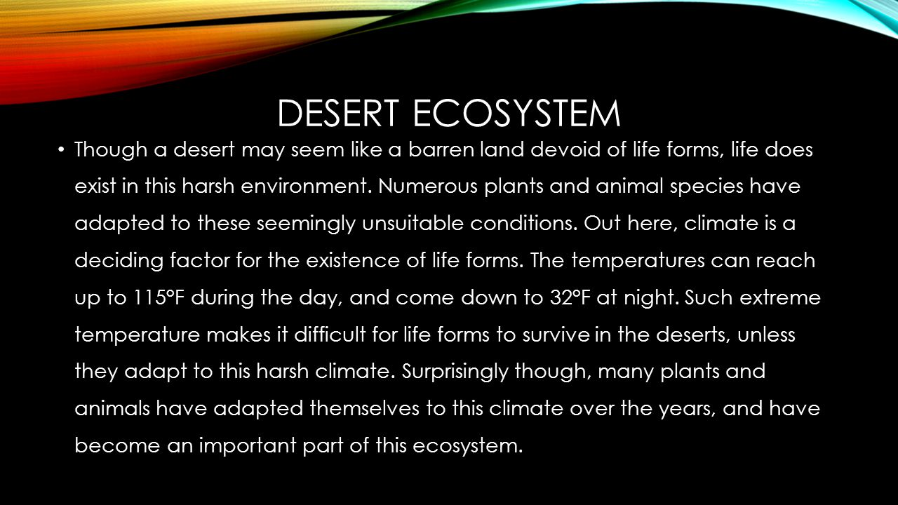 DESERT ECOSYSTEM Though a desert may seem like a barren land devoid of life forms, life does exist in this harsh environment.