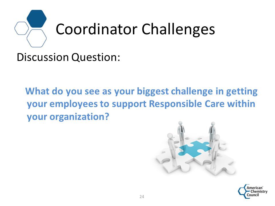 Coordinator Challenges Discussion Question: What do you see as your biggest challenge in getting your employees to support Responsible Care within you