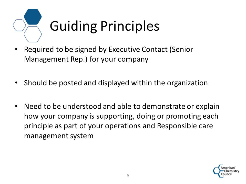 Guiding Principles Required to be signed by Executive Contact (Senior Management Rep.) for your company Should be posted and displayed within the orga