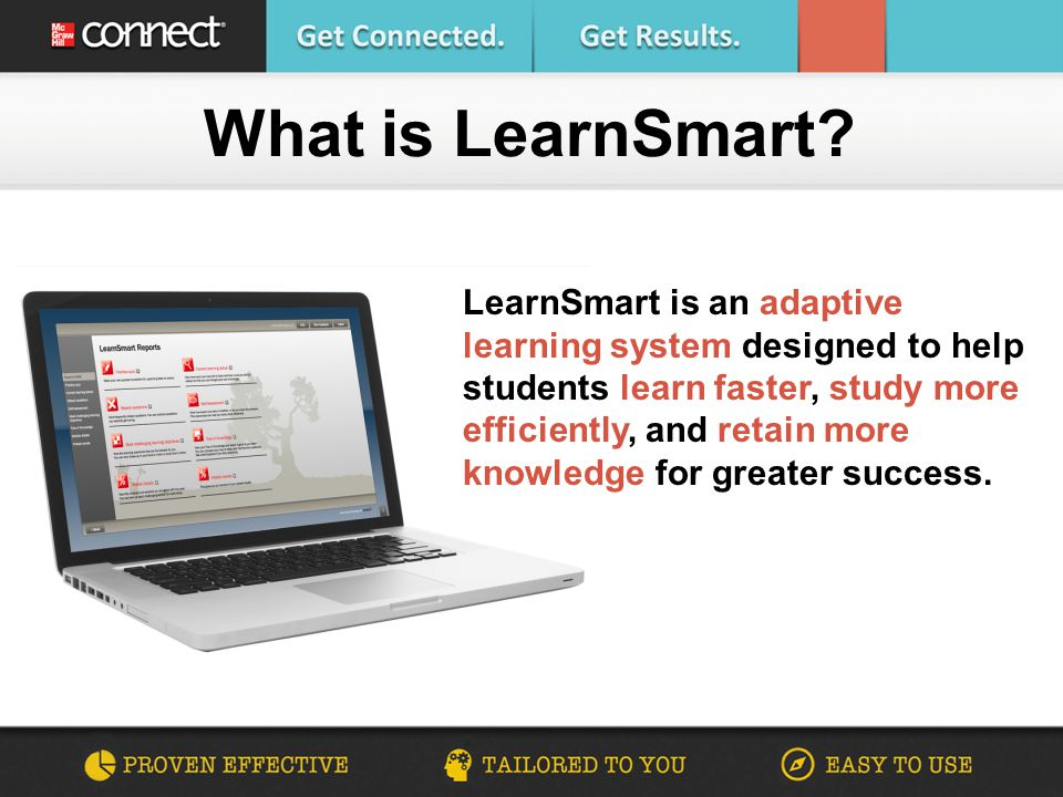 Students who use Connect & LearnSmart are more successful in the course and receive higher grades than their peers not using Connect.