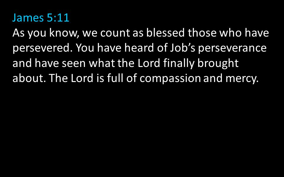 James 5:11 As you know, we count as blessed those who have persevered.