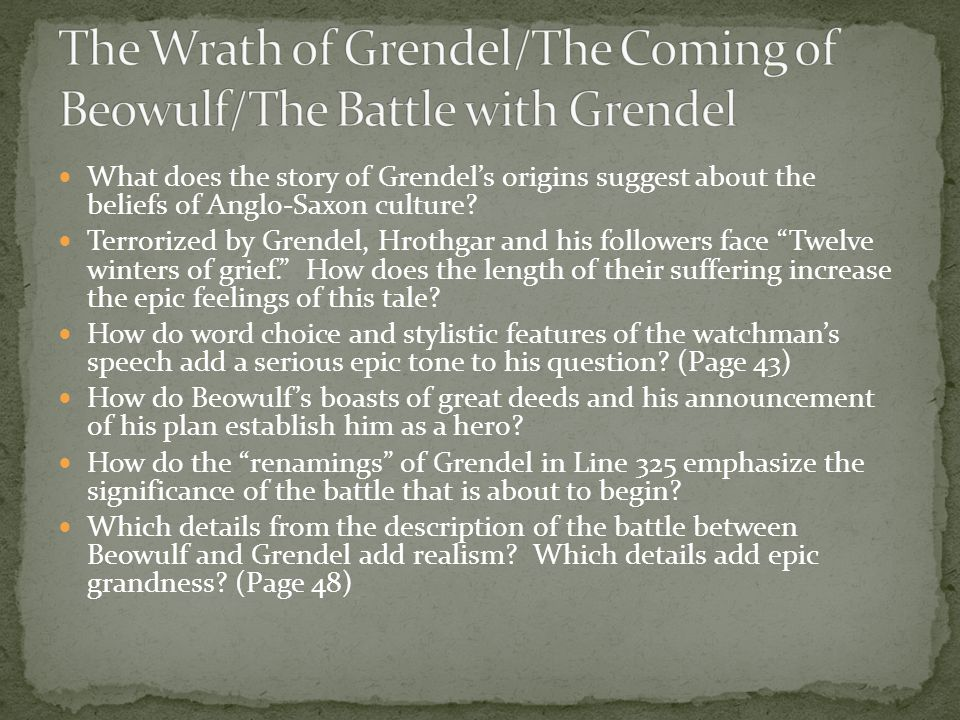 What does the story of Grendel's origins suggest about the beliefs of Anglo-Saxon culture.