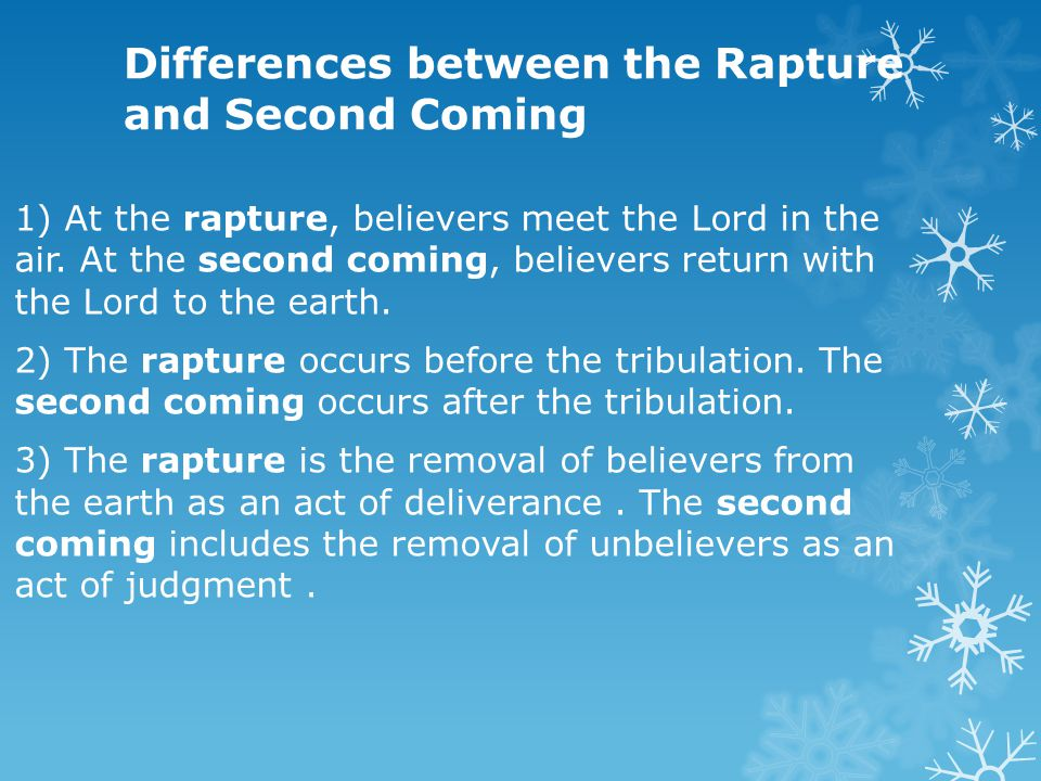 Differences between the Rapture and Second Coming 1) At the rapture, believers meet the Lord in the air. At the second coming, believers return with t