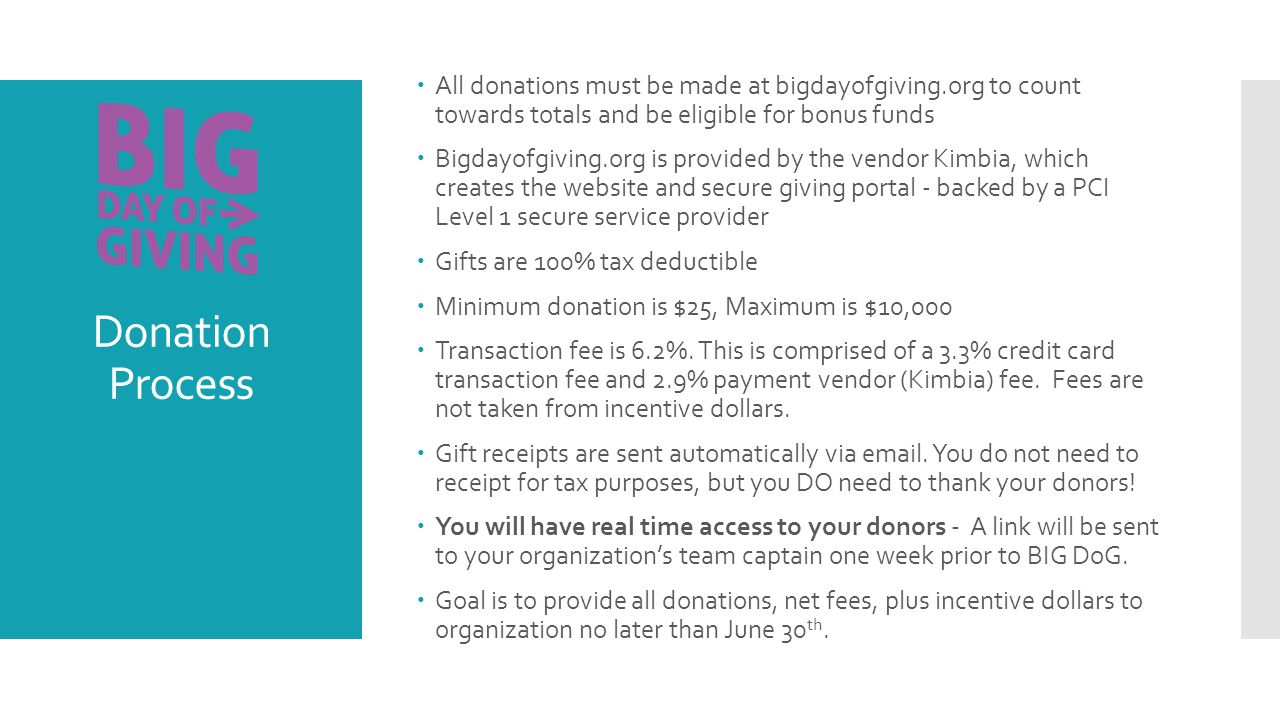 Donation Process  All donations must be made at bigdayofgiving.org to count towards totals and be eligible for bonus funds  Bigdayofgiving.org is provided by the vendor Kimbia, which creates the website and secure giving portal - backed by a PCI Level 1 secure service provider  Gifts are 100% tax deductible  Minimum donation is $25, Maximum is $10,000  Transaction fee is 6.2%.
