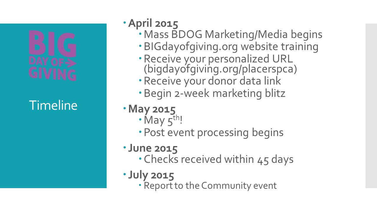 Timeline  April 2015  Mass BDOG Marketing/Media begins  BIGdayofgiving.org website training  Receive your personalized URL (bigdayofgiving.org/placerspca)  Receive your donor data link  Begin 2-week marketing blitz  May 2015  May 5 th .