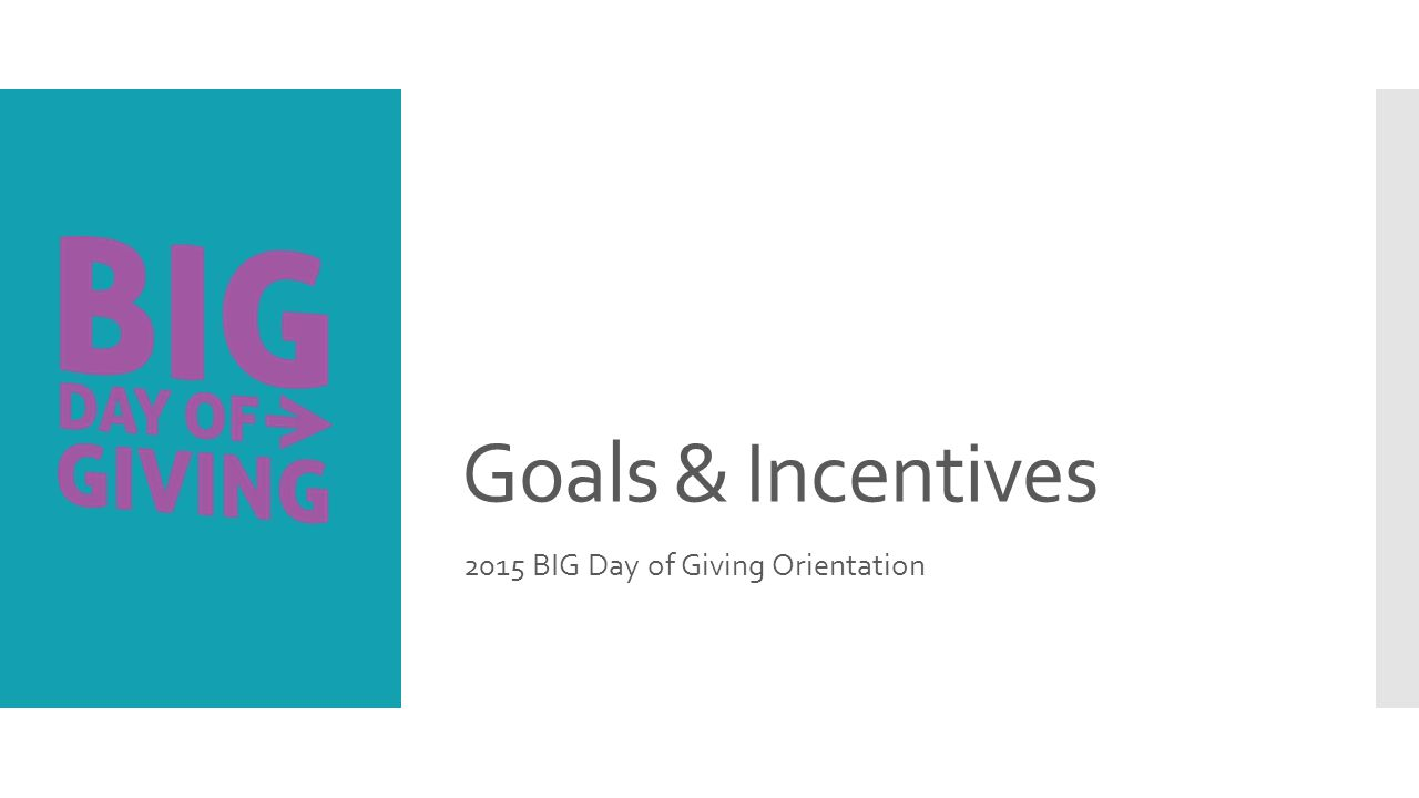 Goals & Incentives 2015 BIG Day of Giving Orientation