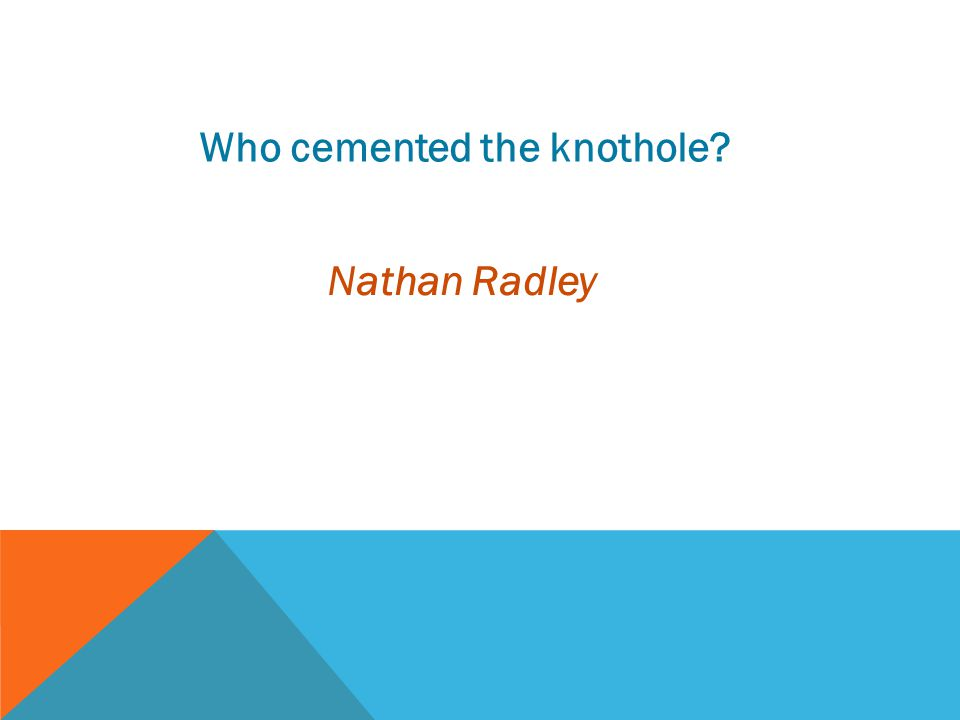 Who cemented the knothole? Nathan Radley