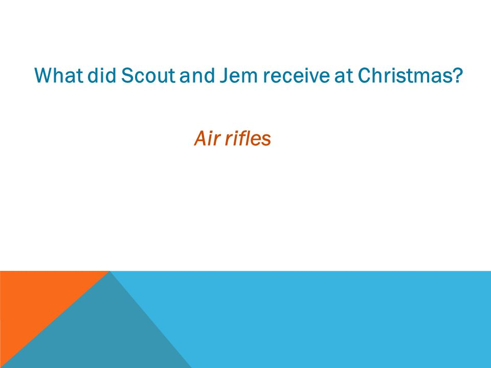 What did Scout and Jem receive at Christmas? Air rifles