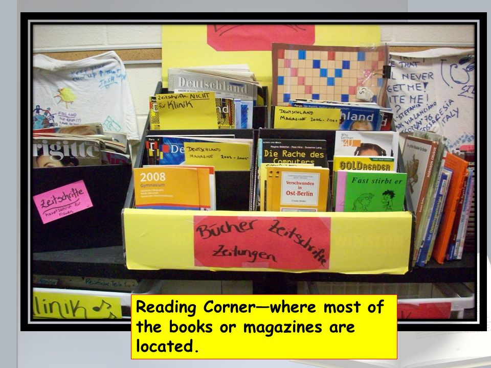 Reading Corner—where most of the books or magazines are located.