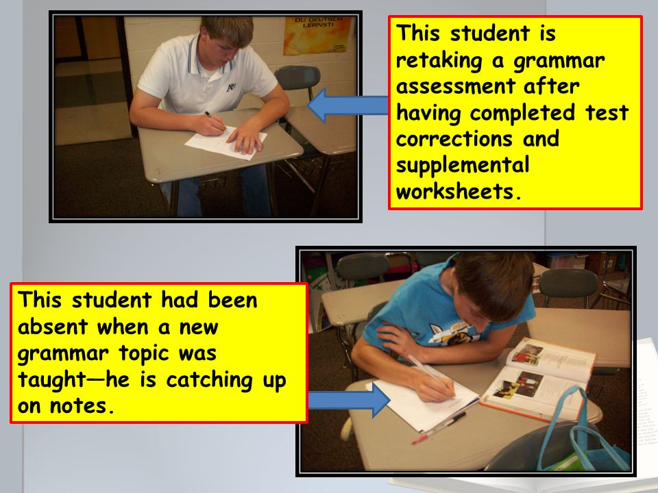 This student is retaking a grammar assessment after having completed test corrections and supplemental worksheets.