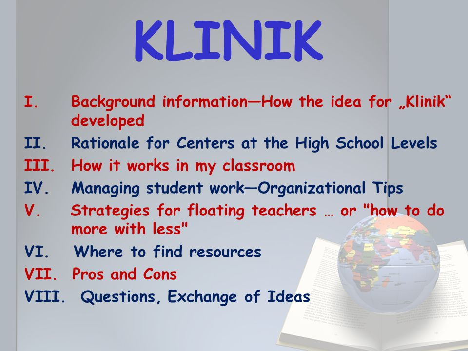 """I.Background information—How the idea for """"Klinik developed a."""