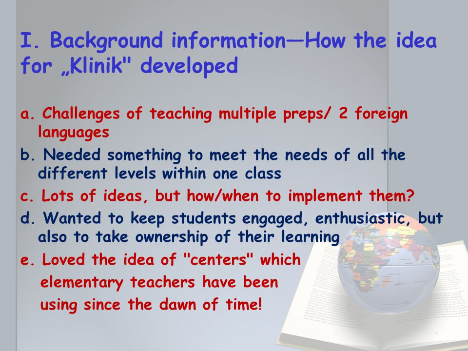 "I. Background information—How the idea for ""Klinik developed a."
