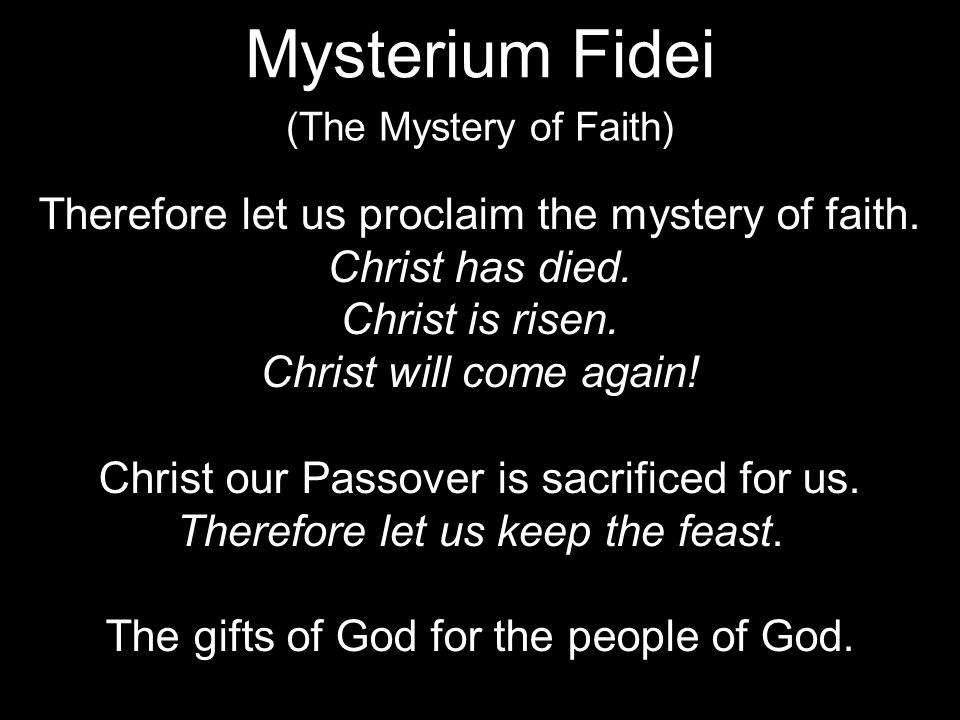 Therefore let us proclaim the mystery of faith. Christ has died.