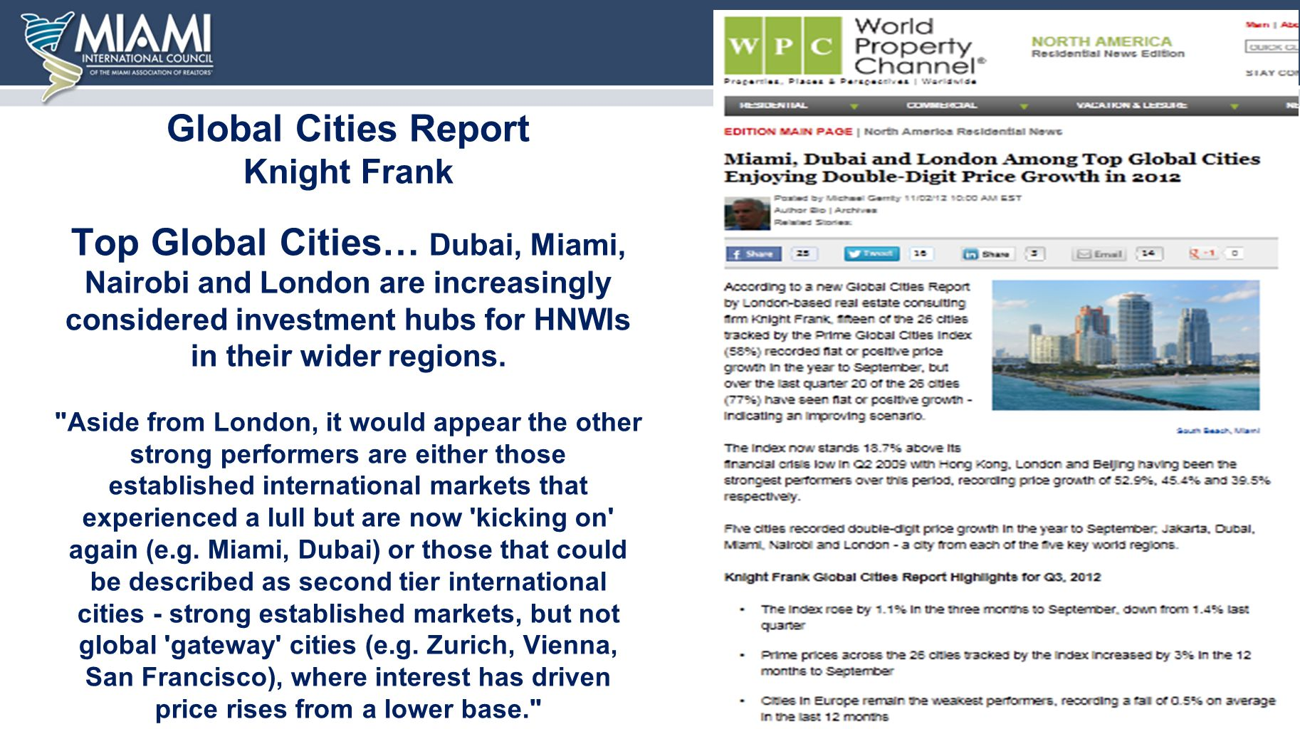 Global Cities Report Knight Frank Top Global Cities… Dubai, Miami, Nairobi and London are increasingly considered investment hubs for HNWIs in their wider regions.