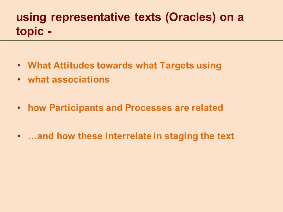 What Attitudes towards what Targets using what associations how Participants and Processes are related …and how these interrelate in staging the text using representative texts (Oracles) on a topic -