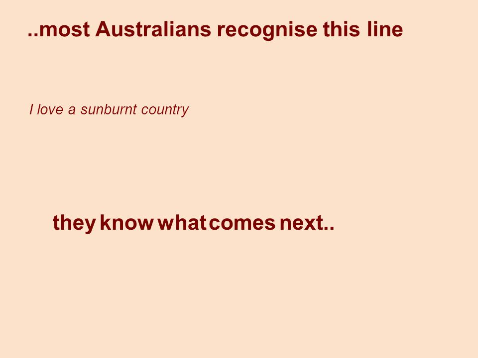 How is the sunburnt country represented… How about Processes and Participants.