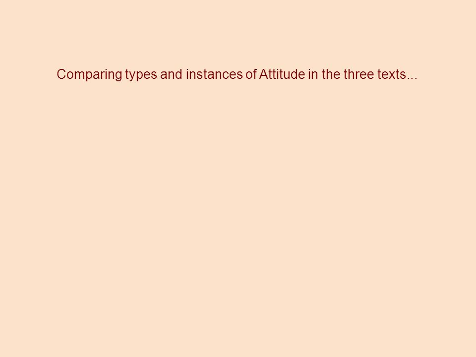 Comparing types and instances of Attitude in the three texts...