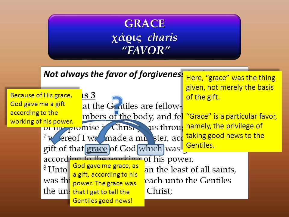 """GRACE χάρις charis """"FAVOR"""" """"FAVOR"""" Not always the favor of forgiveness in Christ Jesus: Ephesians 3 6 to wit, that the Gentiles are fellow-heirs, and"""
