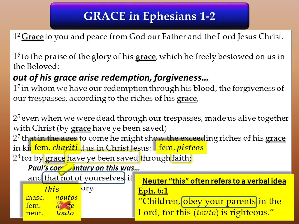 GRACE in Ephesians 1-2 Grace 1 2 Grace to you and peace from God our Father and the Lord Jesus Christ. grace 1 6 to the praise of the glory of his gra