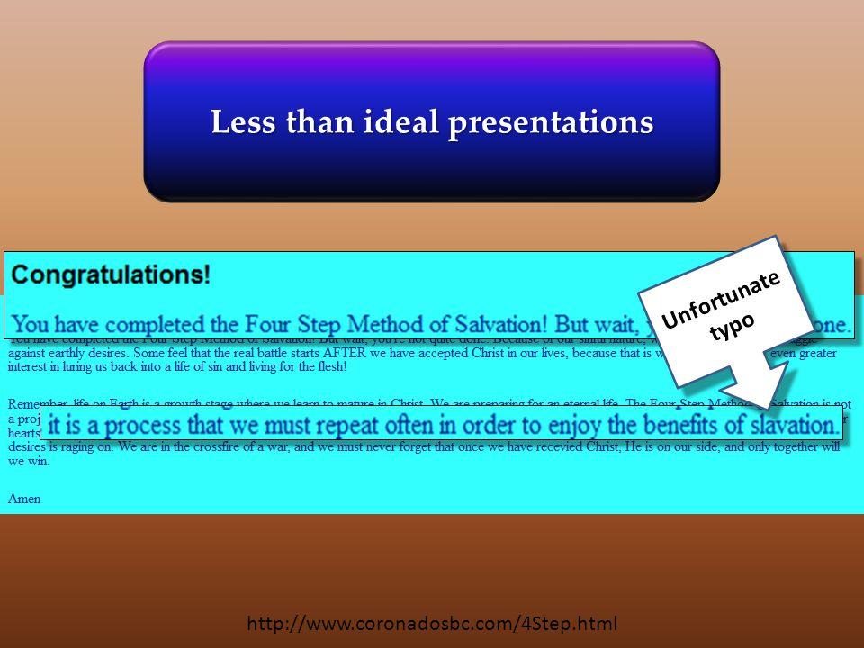 http://www.coronadosbc.com/4Step.html Unfortunate typo Less than ideal presentations