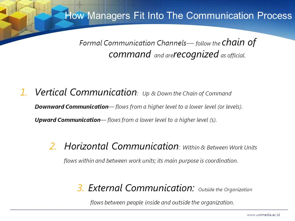 How Managers Fit Into The Communication Process Formal Communication Channels― follow the chain of command and are recognized as official.