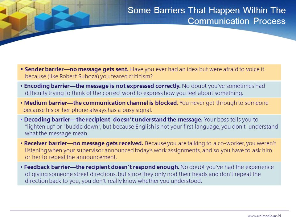 Three Types of Barriers www.unimedia.ac.id P HYSICAL B ARRIERS SOUND, TIME, SPACE, & SO ON S EMANTIC B ARRIERS WHEN WORDS MATTER P ERSONAL B ARRIERS INDIVIDUAL ATTRIBUTES THAT HINDER COMMUNICATION